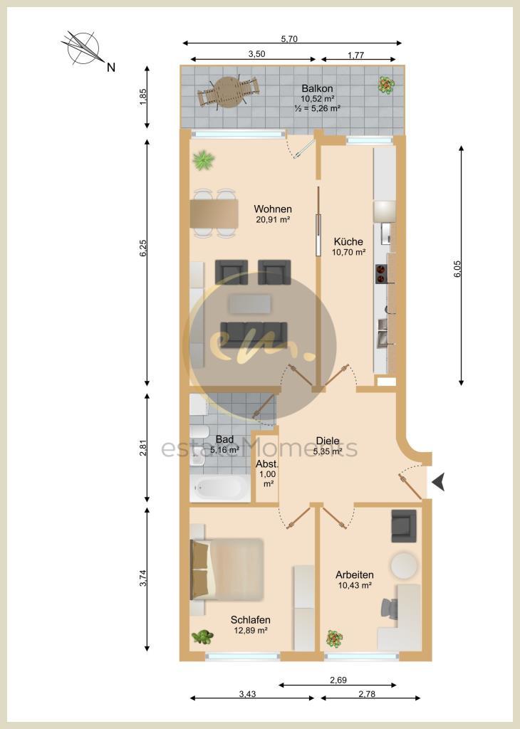 1. Obergeschoss (Whg. 2.69 bzw. 45.35)